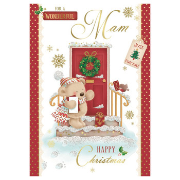 For a Wonderful Mam Bear Standing Near Door Design Christmas Card