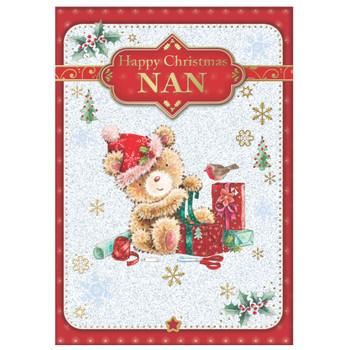 For Nan Bear Wrapping Gift Design Christmas Card