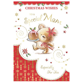 To a Special Mam Bear Carrying Cake Design Christmas Card