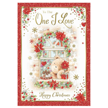 To The One I Love Bear At Window Design Christmas Card