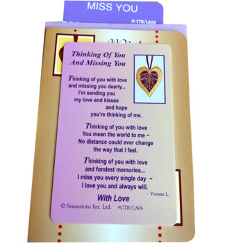 Thinking Of You And Miss You Sentimental Keepsake Wallet / Purse Card
