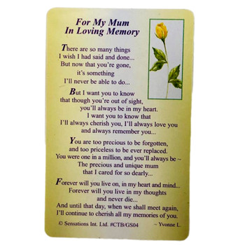 For My Mum In Loving Memory...Wallet Card (Sentimental Keepsake Wallet / Purse Card)