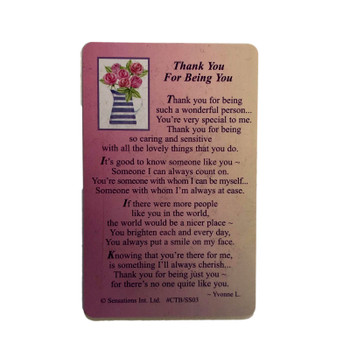 Thank You For Being You (Sentimental Keepsake Wallet / Purse Card)...