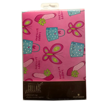 Butterflies Pink Happy Birthday Gift Wrapping Paper