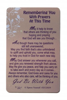 Thinking Of You Keepsake Card Remembering You With Prayers At This Time