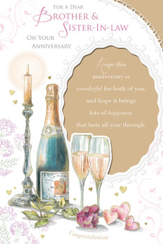 For A Dear Brother And Sister In Law On Your Anniversary Champagne Design Celebrity Style Card