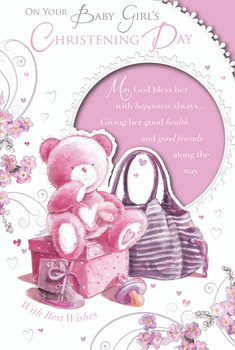 On Your Baby Girl's Christening Day Cute Teddy Design Celebrity Style Greeting Card