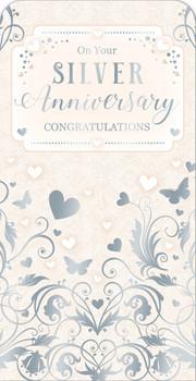 25th Silver Wedding Anniversary Luxury Gift Money Wallet Card