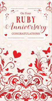40th Ruby Wedding Anniversary Luxury Gift Money Wallet Card