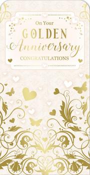 50th Golden Wedding Anniversary Luxury Gift Money Wallet Card