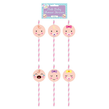 Pack of 6 Assorted Design Pink Baby Shower Paper Straws