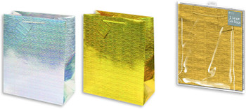 Pack of 2 Assorted Holographic Design Large Gift Bags