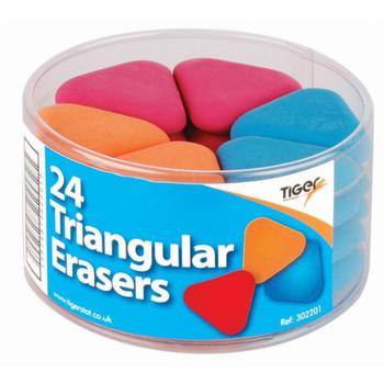 Pack of 24 Multicoloured Triangular Erasers