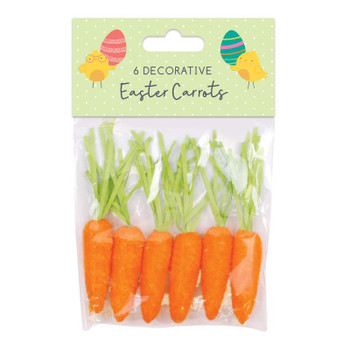 Pack of 6 Easter Carrot Decorations