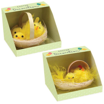 Chenille Chick in Basket Easter Decoration
