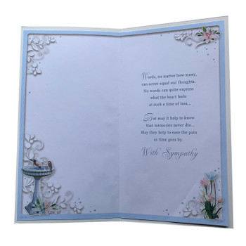 On the Loss of Your Daughter Birdbath Fountain Design Sympathy Opacity Card
