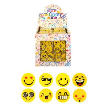 Pack of 4 Assorted Design Eraser Smiley 25mm Novelty Stationery