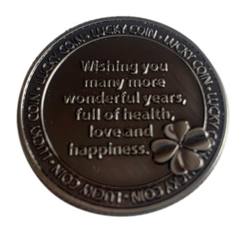 Happy Birthday Clover Design Cherished Lucky Coin Engraved Message Keepsake Gift