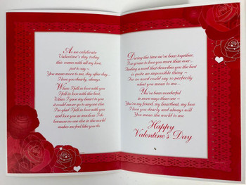 With Lots of Love on Valentine's Day Sentimental Verse Roses & Heart Card