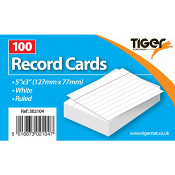 """Pack of 100 Sheets 5""""X3"""" Record Cards Ruled"""