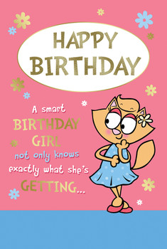 Cute Cat Design Open Female Birthday Witty Words Card