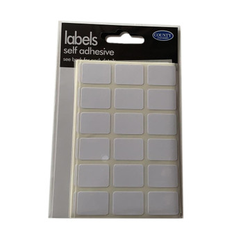 Pack of 126 16x22mm Self Adhesive White Labels Stickers