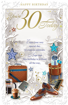 30 Today Open Male Birthday Opacity Card