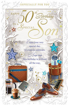 50th Birthday to Special Son Opacity Card