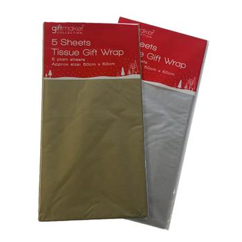 Pack of 5 Tissue Paper Metallic {DC}