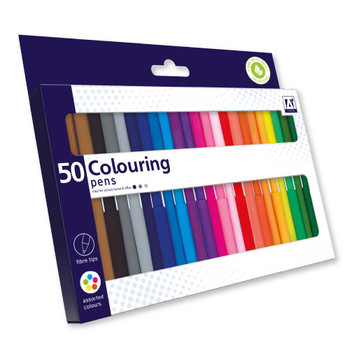 Pack of 50 Fibretips Colouring Pens