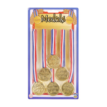 Pack of 6 Gold Winner 3.5cm Medals with 62cm Neck Cord