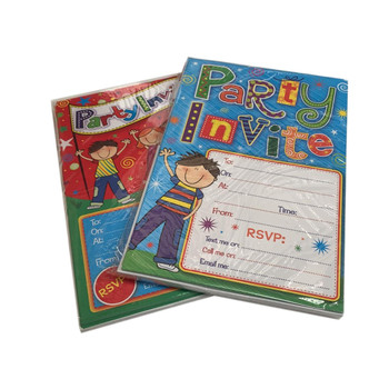 Pack of 20 Children Design Party Invitation Sheets and Envelopes.