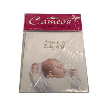 Pack of 6 Thank you for the Baby Gift Cards and Envelopes