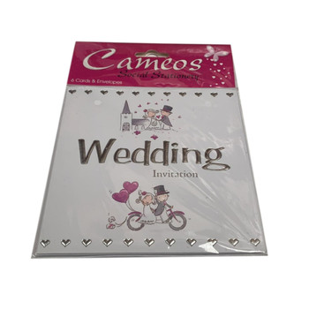 Pack of 6 Character Wedding Invitation Cards and Envelopes