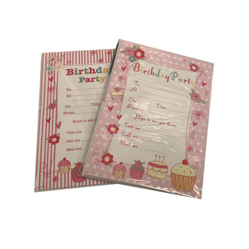 Pack of 20 Cake and Floral Design Party Invitation Sheets