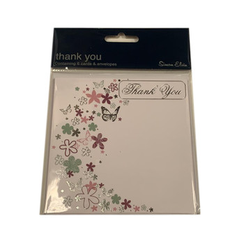 Pack of 6 Butterfly and Floral Design Thank You Cards with Envelopes
