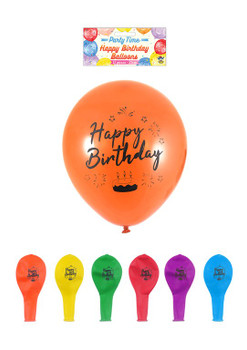 Pack of 12 Happy Birthday Balloons with Printed Detail 23cm