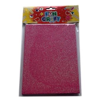 Pack of 4 Pink Glitter A5 Foam Sheets