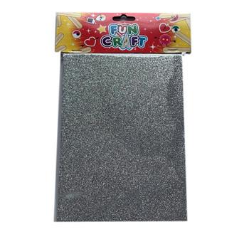 Pack of 4 Silver Glitter A5 Foam Sheets