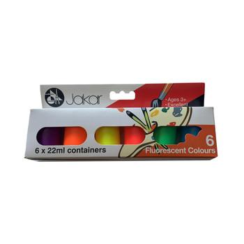Pack of 6 Jakar Fluorescent Colour Poster Paints