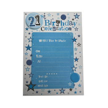 Pack of 20 21st Birthday Party Celebrations Invitations Sheets With Envelopes