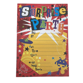 Pack of 20 Surprise Party Invitations Sheets With Envelopes