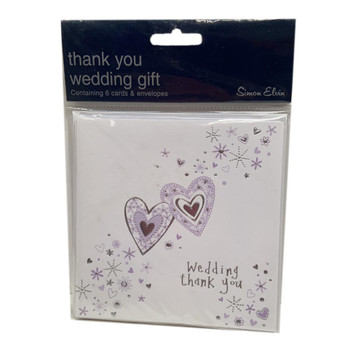 Pack of 6 Wedding Thank You Card - Purple Hearts