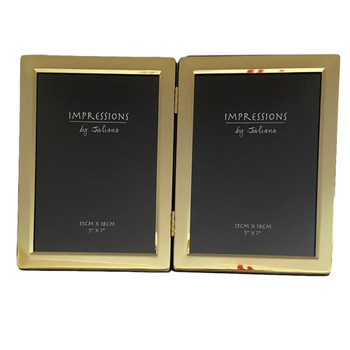 Double Photo Frame Brass Plated Gold Tone