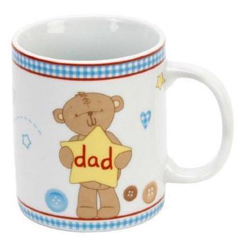 "Button Corner Teddy Bear & Bunny Rabbit Gift Mug for Dad - ""Dad"""