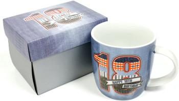 Denim Design Boxed 18th Birthday Mug