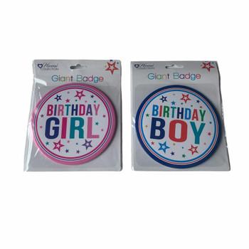 Giant Birthday Badge Boy or Girl