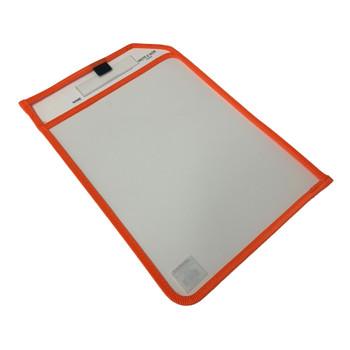 Orange Edge Clear Dry Erase Write and Wipe Reusable Sleeve Pocket
