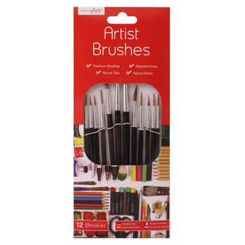 Natural Artist Brushes Pack of 12