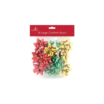 Pack of 18 Large Traditional Christmas Colours Confetti Gift Bows